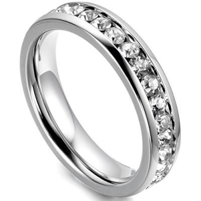 ... Bague-Femme-Anneaux-Argent-Faux-Diamant-Anniversaire-Taille-Optionnel