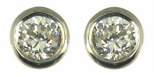 Boucles d'oreille - Femme - Or blanc (18 carats) 0.81 Gr - Diamant 0.15 Cts 1    Poids du diamant : 0.15 cts Couleur du diamant : H-I Pureté du diamant : SI2 (Légère inclusion)