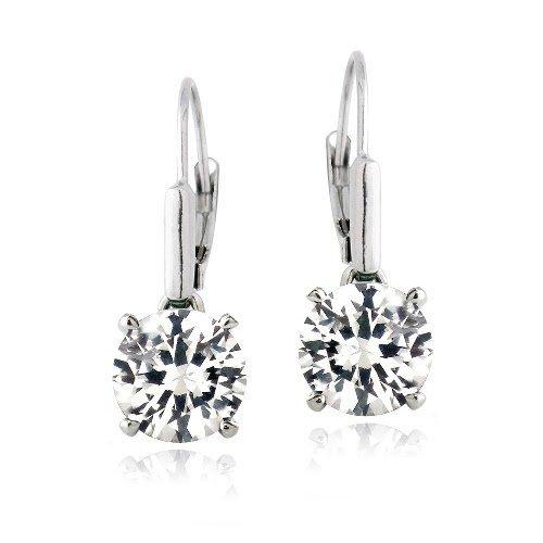 Boucles d'oreilles dormeuses en argent sterling avec rond en saphir blanc 4.5 carat 3    Satisfaction garantie! Meilleure qualité! Meilleur prix!