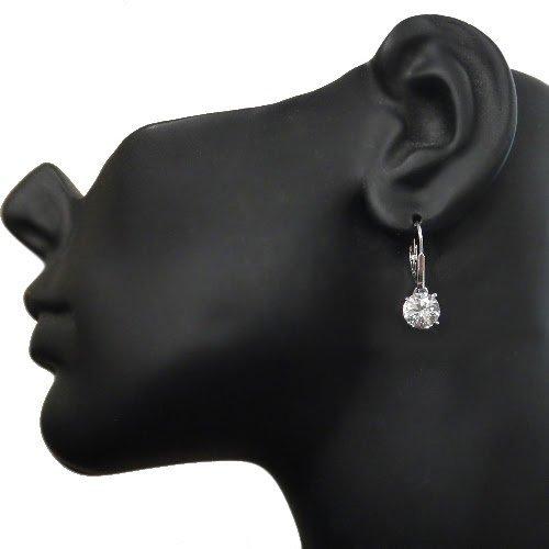 Boucles d'oreilles dormeuses en argent sterling avec rond en saphir blanc 4.5 carat 6    Satisfaction garantie! Meilleure qualité! Meilleur prix!