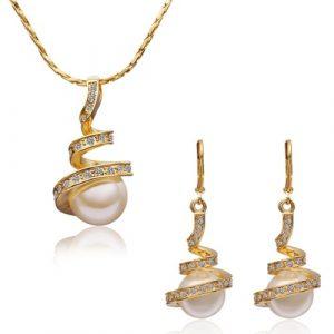MARENJA-Fashion-Cadeau-Femme-Parure-Bijoux-Collier-et-Boucles-dOreilles-pour-Femme-Ressort-Plaqu-Or-Jaune-18K-Perle-Blanche-dImitation-Cristal-Blanc-Bijoux-Fantaisie-0