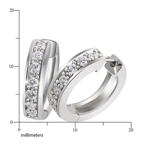 Goldmaid - Boucles d'oreilles créoles - Argent 925/1000 - Oxyde de Zirconium 2    Créoles femme en argent 925/1000 Incrustées de 14 oxydes de zirconium blanches Poids total du métal: 4.2 gr