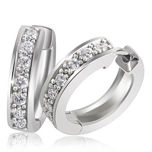 Goldmaid - Boucles d'oreilles créoles - Argent 925/1000 - Oxyde de Zirconium 1    Créoles femme en argent 925/1000 Incrustées de 14 oxydes de zirconium blanches Poids total du métal: 4.2 gr