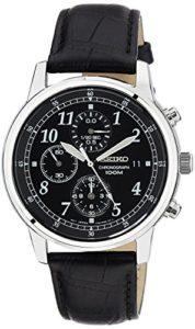 Seiko-SNDC33P1-Montre-Homme-Quartz-Chronographe-Cadran-Noir-Bracelet-Cuir-Noir-0