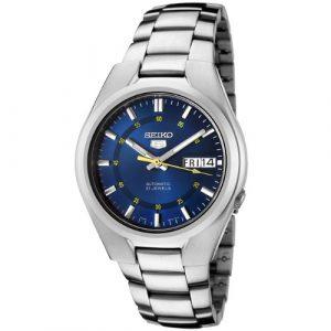 Seiko-SNK615K1-5-Montre-Homme-Automatique-Analogique-Cadran-Bleu-Bracelet-Acier-Gris-0