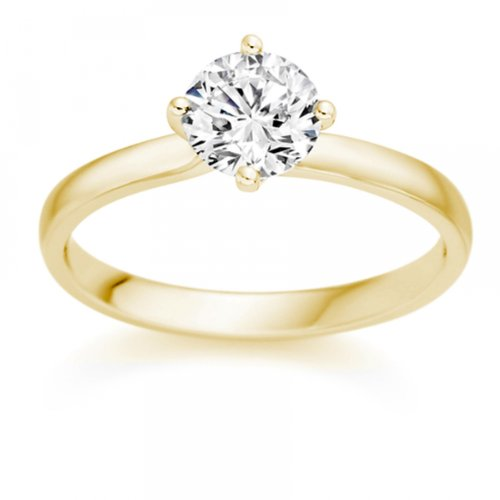 bijoux diamond manufacturers bague de fiancailles avec diamant rond femme or jaune 750 1000