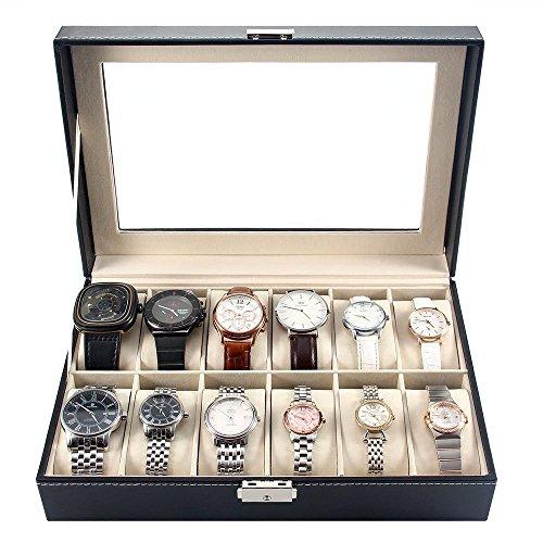 soldes melodysusie pr sentoir bo te coffret montre noir coffret de rangement pour montres. Black Bedroom Furniture Sets. Home Design Ideas