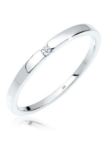 Diamore Femme Precieux Bijoux Bagues Solitaire Bague Mariage Argent 925 Diamant 0 02 Carat Blanc Taille De Bague 52 54 56 58