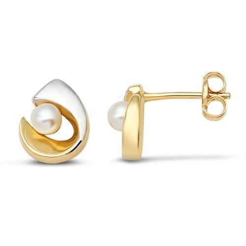 Miore - MA952E - Boucles d'Oreilles Femme - Or Bicolore 375/1000 (9 carats) 0.78 gr - Perle d'eau douce 2    <p>Les bijoux Miore en or bicolore associent la chaleur de l'or jaune et l'éclat élégant de l'or blanc Les perles, douces et symétriques, sont des joyaux parfaits pour traduire la féminité de chaque femme Chaque bijou Miore est livré avec son certificat d'authenticité Les bijoux Miore sont présentés dans un bel écrin bleu</p>
