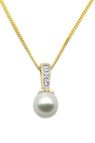 Miore MT051N - Collier Femme - Or Jaune 375/1000 (9 carats) 1.5 Gr - Perle d'eau douce - Diamant 0.01 cts 1    Bijou Femme en Or jaune Poids total du métal: 1.5 gr Type de perle : Perle d'eau douce Blanche