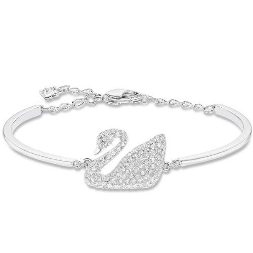 Swarovski Bracelet-jonc Swan, blanc, métal rhodié 2    <p>Swan bracelet ce bracelet jonc plaqué rhodium avec le célèbre motif: le cygne. En cristaux scintillants, offre un look leur élégance intemporelle. L'fermeture chaîne réglable offre une haute résistant et confort. Article no.: 5011990Dimensions: 6x 4,5cm Le bracelet-jonc Swan, plaqué rhodium, présente le motif emblématique de Swarovski : le cygne. Scintillant en un pavé de cristaux clairs, il confère un look d'une élégance intemporelle. Le mécanisme réglable du bracelet-jonc offre une tenue et un confort excellents. Les bijoux Swarovski alimentent véritablement l'expression créative de soi-même. Depuis 1895, le savoir-faire du fondateur Daniel Swarovski en matière de taille du cristal a défini la société.  Sa passion inébranlable pour l'innovation et le design en a fait la première marque mondiale de bijoux et d'accessoires en cristal taillé.</p>