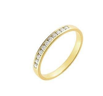 Alliance Or 750 Diamant ref 24994 1    Demi Alliance Or Jaune et Diamant, Serti rail, Largeur de la monture : 2,3mm, Poids Diamant : 0,15 carat, Qualité Diamant : HSI, Métal : Or Jaune 750, Poids Métal : 1,6gr., bijou en Or Jaune 750 pour Femme Livré sous écrin avec certificat d'authenticité Or 750