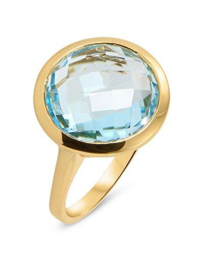 Bague Or 750 Topaze bleue traitee ref 31486 1    Bague en Or Jaune sertie d'une Topaze Bleue ronde taille dome de 15mm de diamètre, Poids de la pierre : 10,50ct, Métal : Or Jaune 750, Poids Métal : 3,7gr., bijou en Or Jaune 750 pour Femme Livré sous écrin avec certificat d'authenticité Or 750