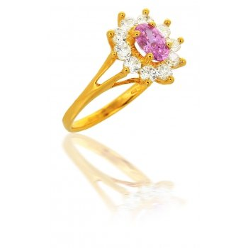 Avenuedubijou - Bague Diamant Rose Or 18 Carats 2    Or Jaune 18 Carats Oxyde de Zirconium Rosé
