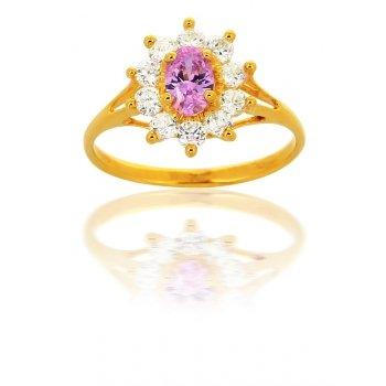 Avenuedubijou - Bague Diamant Rose Or 18 Carats 1    Or Jaune 18 Carats Oxyde de Zirconium Rosé