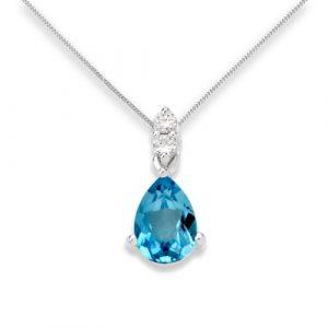 Collier Femme Or blanc 9 carats 098 gr Topaze bleue et Diamants
