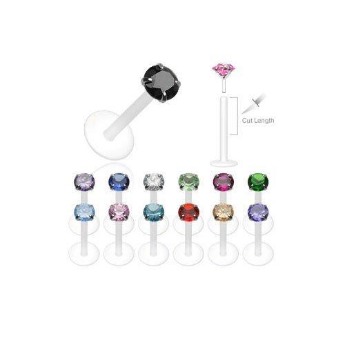 Piercing Lèvre Labret Cartilage Tragus Cristal Griffé Noir 1 Bijoutier Boutique Recoupable, donc taille au choix Piercing Bioflex Cristal de 3mm environ