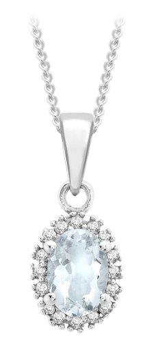 Carissima Gold - Collier avec pendentif - Femme - Or blanc (9 cts) 1.45 Gr - Aigue Marine - Diamant 2 Bijoutier Boutique Bijou femme en or blanc Poids total du métal : 1,45 g Type de pierre : Aigue-marine, diamant