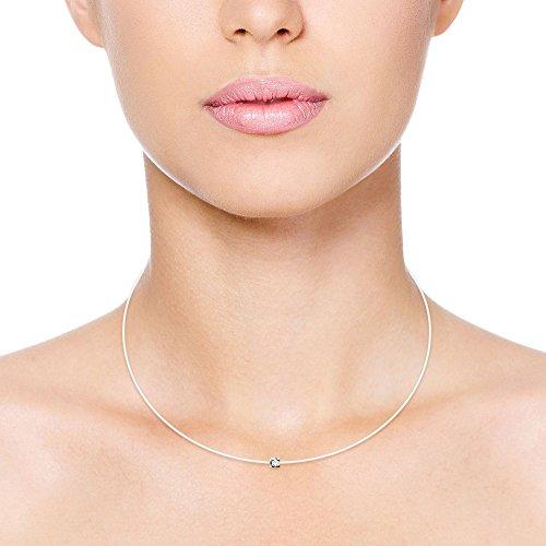 Diamond & You - Collier - Argent 925 - Diamant 0.03 cts - 42 cm - AM-DIA1 2 Bijoutier Boutique Bijou pour Femme en Argent 925/1000, 1.20 gr Longueur : 42 cm Type de pierre : Diamant
