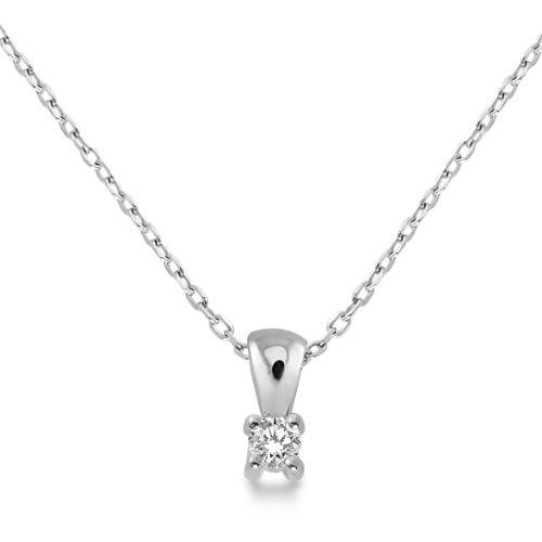 Miore - M9022P - Collier avec Pendentif Femme - Or blanc 375/1000 (9 carats) 1.06 gr - Diamant 0.05 cts - 45 cm 1 Bijoutier Boutique Bijou Femme en Or blanc Poids total du métal: 1.06 gr Type de pierre : Diamant