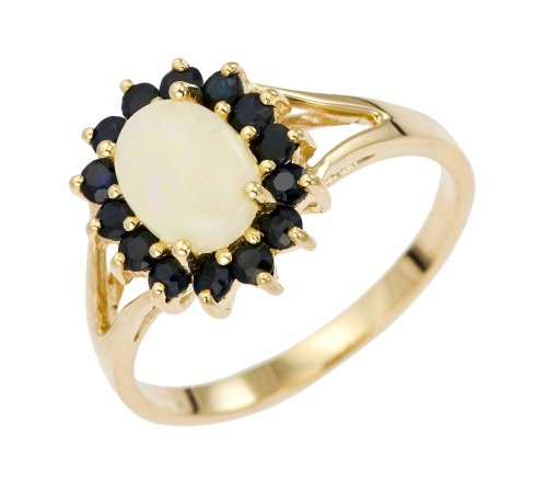 Bague Femme - Or jaune (9 cts) 2.3 Gr - Opale - Saphir - T 56.5 2 Bijoutier Boutique Bague Femme en Or jaune 375/1000 Poids total du métal: 2.07 gr Type de pierre : Opale