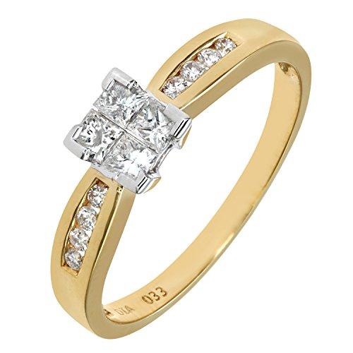 Bague de Fiançailles - PR6497 18KY (L) - Femme - Or jaune (18 cts) 2.5 Gr - Diamant - T 52 2 Bijoutier Boutique Bague Femme en Or jaune 750/1000 Poids total du métal: 2.2 gr Type de pierre : Diamant