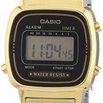 Casio - Vintage - LA670WEGA-1EF - Montre Femme - Quartz Digital - Cadran Noir - Bracelet Acier Doré 5 Bijoutier Boutique Montre pour Femme à mouvement Quartz - Bracelet en Acier inoxydable doré Type d'affichage : Digital Type de verre : Plastique