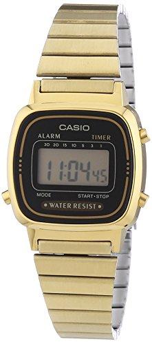 Casio - Vintage - LA670WEGA-1EF - Montre Femme - Quartz Digital - Cadran Noir - Bracelet Acier Doré 1 Bijoutier Boutique Montre pour Femme à mouvement Quartz - Bracelet en Acier inoxydable doré Type d'affichage : Digital Type de verre : Plastique