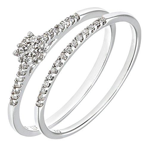 Ensemble Bague de fiançailles et alliance Femme - Or Blanc 375/1000 (9 Cts) 1.7 Gr - Diamant - T 50 2 Bijoutier Boutique Bague Femme en Or blanc 375/1000 Poids total du métal: 1.7 gr Type de pierre : Diamant