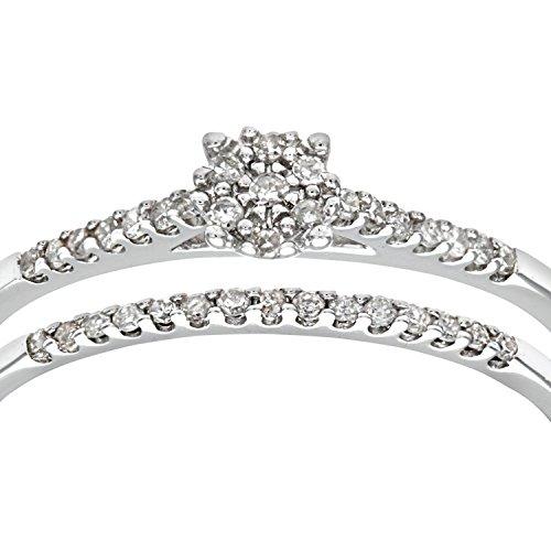 Ensemble Bague de fiançailles et alliance Femme - Or Blanc 375/1000 (9 Cts) 1.7 Gr - Diamant - T 50 3 Bijoutier Boutique Bague Femme en Or blanc 375/1000 Poids total du métal: 1.7 gr Type de pierre : Diamant