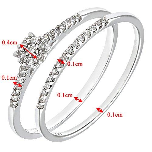 Ensemble Bague de fiançailles et alliance Femme - Or Blanc 375/1000 (9 Cts) 1.7 Gr - Diamant - T 50 4 Bijoutier Boutique Bague Femme en Or blanc 375/1000 Poids total du métal: 1.7 gr Type de pierre : Diamant