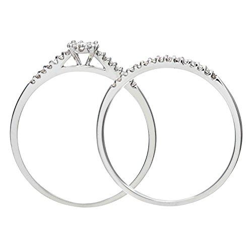 Ensemble Bague de fiançailles et alliance Femme - Or Blanc 375/1000 (9 Cts) 1.7 Gr - Diamant - T 50 5 Bijoutier Boutique Bague Femme en Or blanc 375/1000 Poids total du métal: 1.7 gr Type de pierre : Diamant