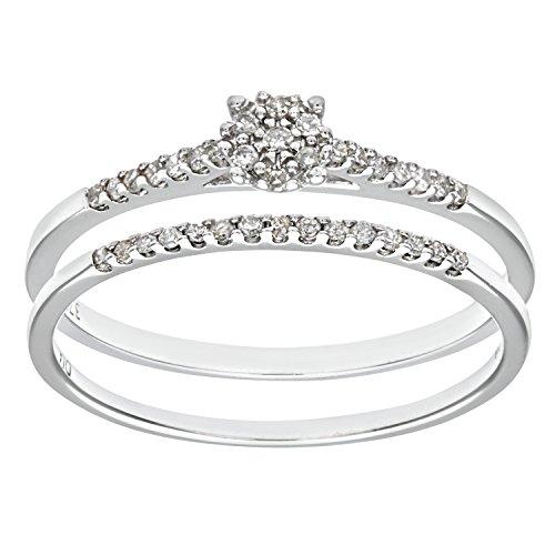 Ensemble Bague de fiançailles et alliance Femme - Or Blanc 375/1000 (9 Cts) 1.7 Gr - Diamant - T 50 1 Bijoutier Boutique Bague Femme en Or blanc 375/1000 Poids total du métal: 1.7 gr Type de pierre : Diamant