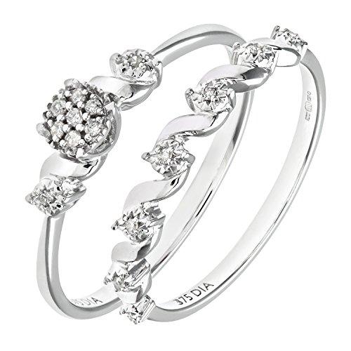 Ensemble Bague de fiançailles et alliance Femme - Or Blanc 375/1000 (9 Cts) 2.5 Gr - Diamant - T 55.5 2 Bijoutier Boutique Bague Femme en Or blanc 375/1000 Poids total du métal: 2.5 gr Type de pierre : Diamant