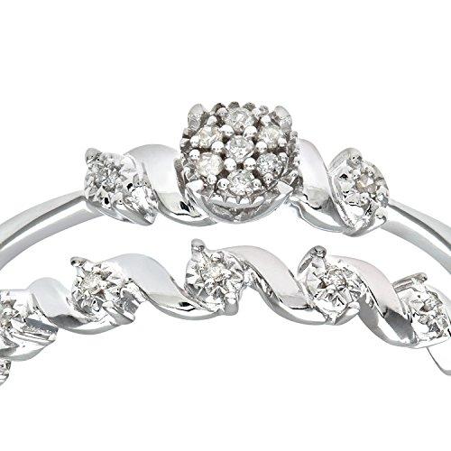 Ensemble Bague de fiançailles et alliance Femme - Or Blanc 375/1000 (9 Cts) 2.5 Gr - Diamant - T 55.5 3 Bijoutier Boutique Bague Femme en Or blanc 375/1000 Poids total du métal: 2.5 gr Type de pierre : Diamant