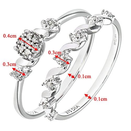 Ensemble Bague de fiançailles et alliance Femme - Or Blanc 375/1000 (9 Cts) 2.5 Gr - Diamant - T 55.5 4 Bijoutier Boutique Bague Femme en Or blanc 375/1000 Poids total du métal: 2.5 gr Type de pierre : Diamant