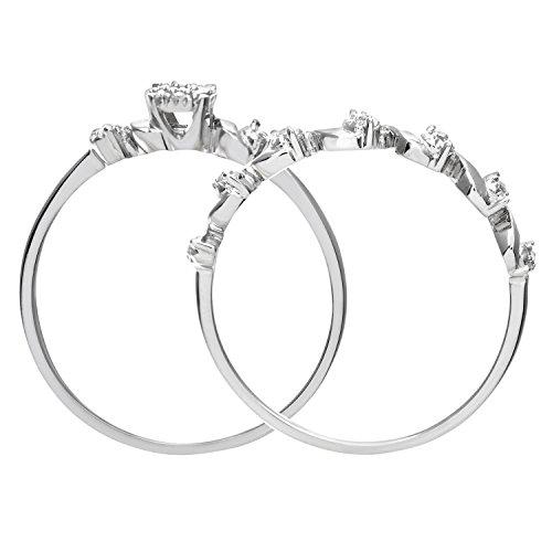Ensemble Bague de fiançailles et alliance Femme - Or Blanc 375/1000 (9 Cts) 2.5 Gr - Diamant - T 55.5 5 Bijoutier Boutique Bague Femme en Or blanc 375/1000 Poids total du métal: 2.5 gr Type de pierre : Diamant