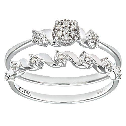 Ensemble Bague de fiançailles et alliance Femme - Or Blanc 375/1000 (9 Cts) 2.5 Gr - Diamant - T 55.5 1 Bijoutier Boutique Bague Femme en Or blanc 375/1000 Poids total du métal: 2.5 gr Type de pierre : Diamant
