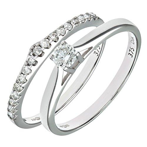 Ensemble Bague de fiançailles et alliance Femme - Or Blanc 375/1000 (9 Cts) 2.6 Gr - Diamant - T 54 2 Bijoutier Boutique Bague Femme en Or blanc 375/1000 Poids total du métal: 2.6 gr Type de pierre : Diamant