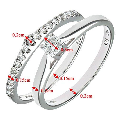 Ensemble Bague de fiançailles et alliance Femme - Or Blanc 375/1000 (9 Cts) 2.6 Gr - Diamant - T 54 4 Bijoutier Boutique Bague Femme en Or blanc 375/1000 Poids total du métal: 2.6 gr Type de pierre : Diamant