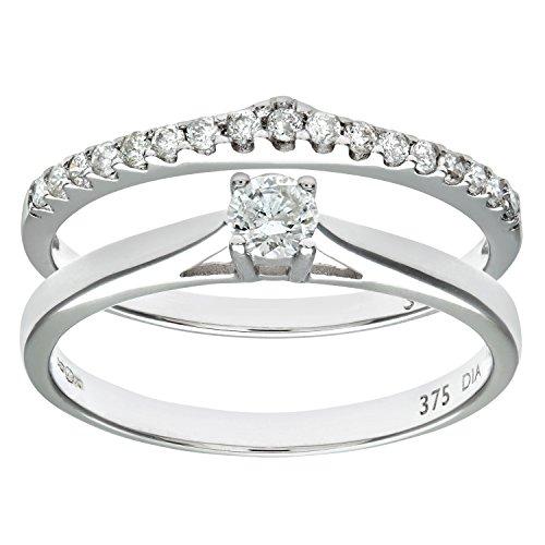 Ensemble Bague de fiançailles et alliance Femme - Or Blanc 375/1000 (9 Cts) 2.6 Gr - Diamant - T 54 1 Bijoutier Boutique Bague Femme en Or blanc 375/1000 Poids total du métal: 2.6 gr Type de pierre : Diamant