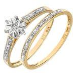 Ensemble Bague de fiançailles et alliance Femme - Or Jaune 375/1000 (9 Cts) 1.7 Gr - Diamant - T 49 7 Bijoutier Boutique Bague Femme en Or jaune 375/1000 Poids total du métal: 1.7 gr Type de pierre : Diamant