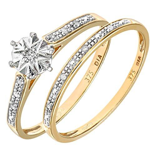 Ensemble Bague de fiançailles et alliance Femme - Or Jaune 375/1000 (9 Cts) 1.7 Gr - Diamant - T 49 2 Bijoutier Boutique Bague Femme en Or jaune 375/1000 Poids total du métal: 1.7 gr Type de pierre : Diamant