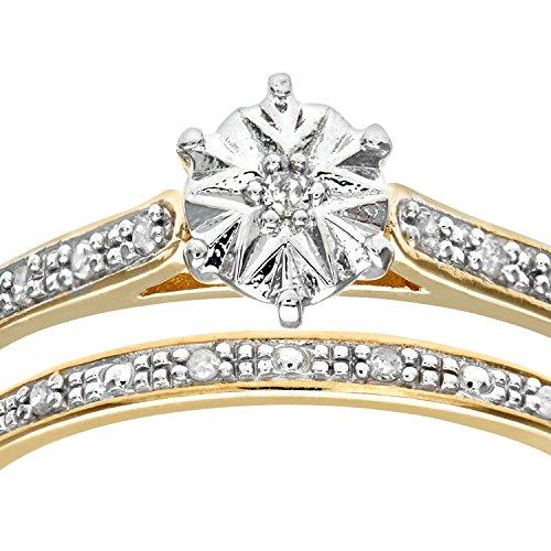 Ensemble Bague de fiançailles et alliance Femme - Or Jaune 375/1000 (9 Cts) 1.7 Gr - Diamant - T 49 3 Bijoutier Boutique Bague Femme en Or jaune 375/1000 Poids total du métal: 1.7 gr Type de pierre : Diamant