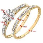 Ensemble Bague de fiançailles et alliance Femme - Or Jaune 375/1000 (9 Cts) 1.7 Gr - Diamant - T 49 9 Bijoutier Boutique Bague Femme en Or jaune 375/1000 Poids total du métal: 1.7 gr Type de pierre : Diamant