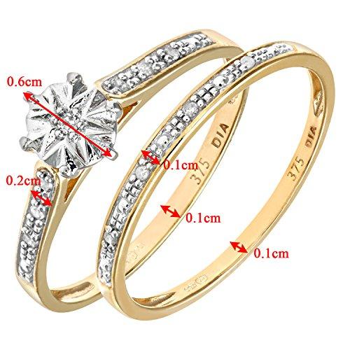 Ensemble Bague de fiançailles et alliance Femme - Or Jaune 375/1000 (9 Cts) 1.7 Gr - Diamant - T 49 4 Bijoutier Boutique Bague Femme en Or jaune 375/1000 Poids total du métal: 1.7 gr Type de pierre : Diamant