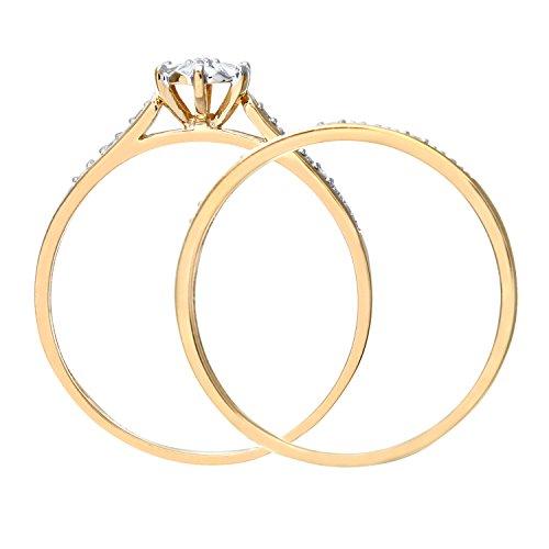Ensemble Bague de fiançailles et alliance Femme - Or Jaune 375/1000 (9 Cts) 1.7 Gr - Diamant - T 49 5 Bijoutier Boutique Bague Femme en Or jaune 375/1000 Poids total du métal: 1.7 gr Type de pierre : Diamant