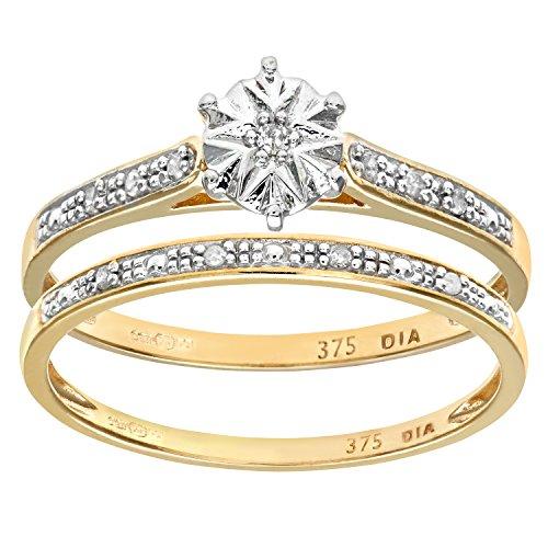 Ensemble Bague de fiançailles et alliance Femme - Or Jaune 375/1000 (9 Cts) 1.7 Gr - Diamant - T 49 1 Bijoutier Boutique Bague Femme en Or jaune 375/1000 Poids total du métal: 1.7 gr Type de pierre : Diamant