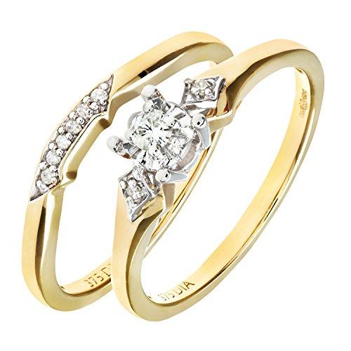 Ensemble Bague de fiançailles et alliance Femme - Or Jaune 375/1000 (9 Cts) 3.1 Gr - Diamant - T 52 2 Bijoutier Boutique Bague Femme en Or jaune 375/1000 Poids total du métal: 3.1 gr Type de pierre : Diamant