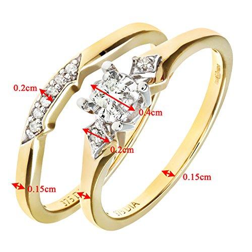 Ensemble Bague de fiançailles et alliance Femme - Or Jaune 375/1000 (9 Cts) 3.1 Gr - Diamant - T 52 4 Bijoutier Boutique Bague Femme en Or jaune 375/1000 Poids total du métal: 3.1 gr Type de pierre : Diamant